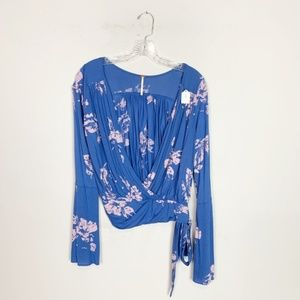 Free People blue & purple floral tie front top XS